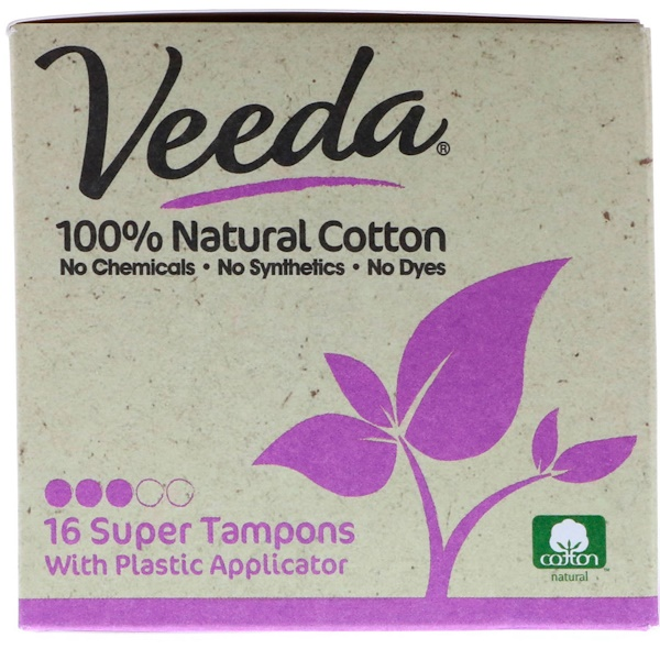 Veeda, 100% Natural Cotton Tampon with Plastic Applicator, Super, 16 Tampons (Discontinued Item)
