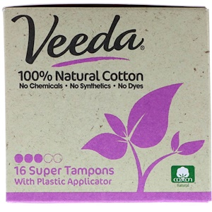 Veeda, 100% Natural Cotton Tampon with Plastic Applicator, Super, 16 Tampons отзывы