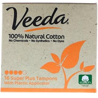 Veeda, 100% Natural Cotton Tampon with Plastic Applicator, Super Plus, 16 Tampons