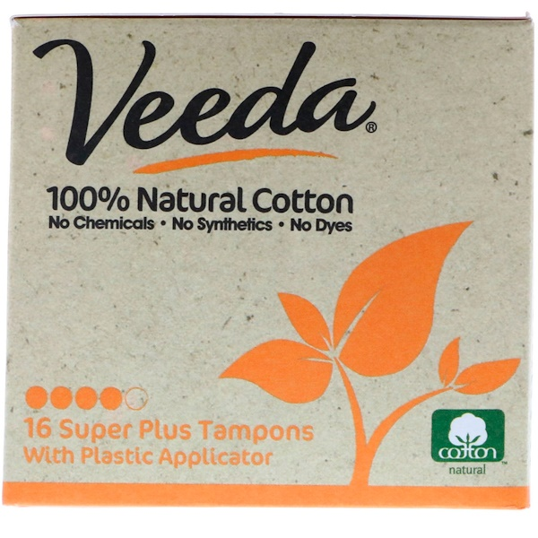 Veeda, 100% Natural Cotton Tampon with Plastic Applicator, Super Plus, 16 Tampons (Discontinued Item)