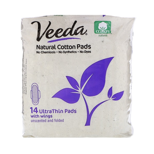 Veeda, Natural Cotton Pads with Wings, Ultra Thin, 14 Pads