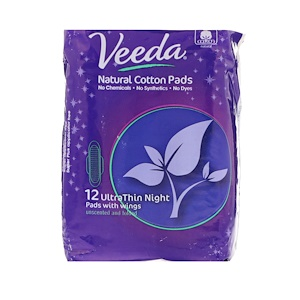 Veeda, Natural Cotton Pads with Wings, Ultra Thin, Night, 12 Pads отзывы