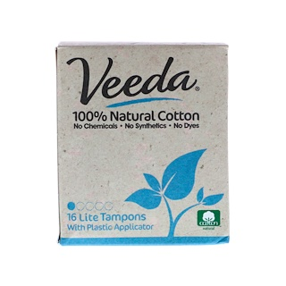Veeda, 100% Natural Cotton Tampon with Plastic Applicator, Lite, 16 Tampons