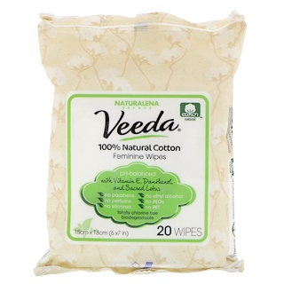 Veeda, 100% Natural Cotton Feminine Wipes, 20 Wipes