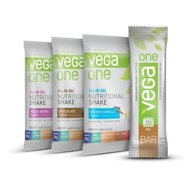 Vega, Vega One, All-In-One, Bar & Nutritional Shake Drink Mixes, 4 Pieces (Discontinued Item)