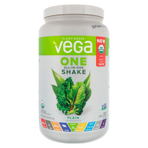 Vega, One,All in One 飲品,純淨不加糖,26、9盎司(763克)