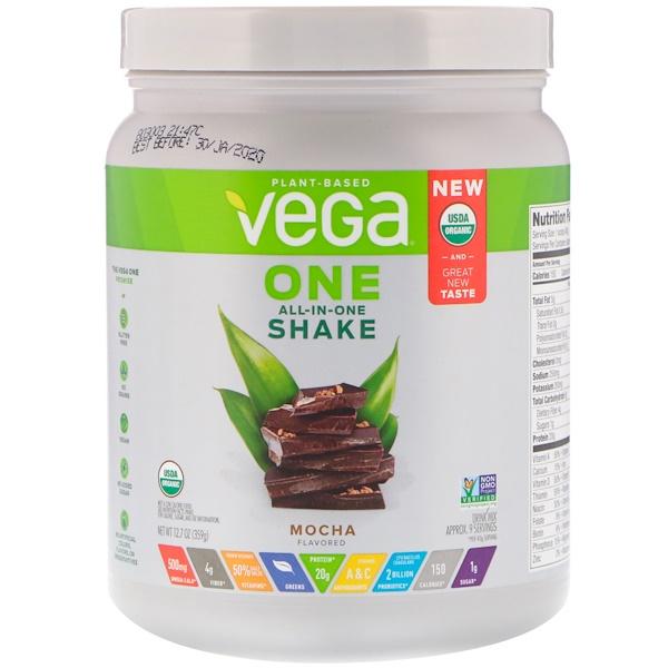 Vega, One,多合一飲料粉,摩卡,12、7盎司(359克)