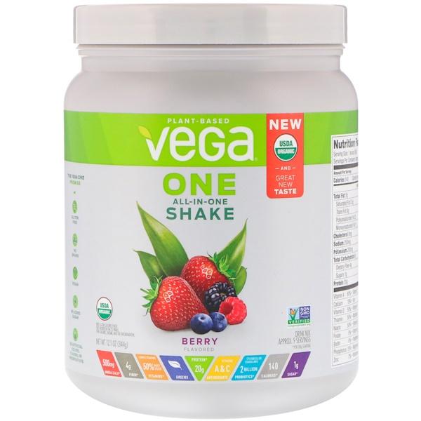 Vega, One,多合一奶昔粉,漿果味,12、1 盎司(344 克)