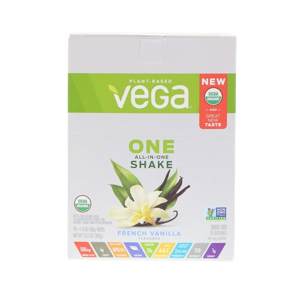 Vega, One, All-in-One Shake, French Vanilla, 10 Packs, 1.4 oz (38 g) Each (Discontinued Item)