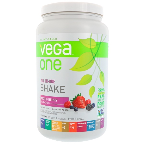 Vega, Vega One, All-In-One Shake, Mixed Berry, 30 oz (850 g) (Discontinued Item)