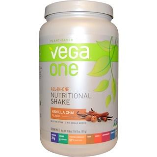 """Vega, Vega One, питательный коктейль """"все-в-одном"""", ванильный чай, 30,8 унций (874 г)"""