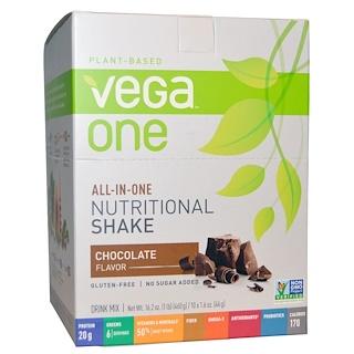 Vega, ベガワン(Vega One), オールインワン栄養シェイク, チョコレート, 10パケット, 各1.6オンス(46 g)