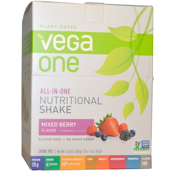 Vega, Vega One, All-in-One Nutritional Shake, Mixed Berry Flavor, 10 Packets, 1.5 oz (42 g) Each
