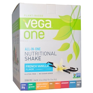 Vega, Vega One, All-in-One Nutritional Shake, French Vanilla, 10 Packets, 1.5 oz (41 g) Each
