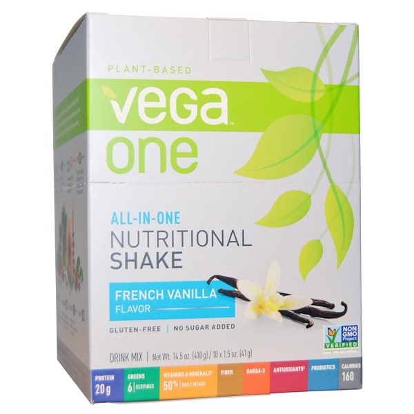 Vega, Vega One, All-in-One Nutritional Shake, French Vanilla, 10 Packets, 1.5 oz (41 g) Each (Discontinued Item)