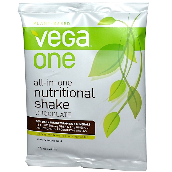 Vega, Vega One, Plant-Based Nutritional Shake, Chocolate, 1.5 oz (43.8 g) (Discontinued Item)