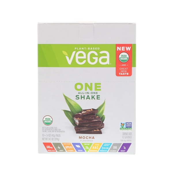 Vega, One, All-In-One Shake, Mocha, 10 Packets, 1.4 oz (40 g) Each (Discontinued Item)