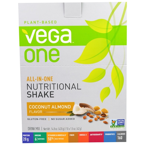 Vega, All-In-One, Nutritional Shake, Coconut Almond, 10 Packets, 1.5 oz (42 g) Each (Discontinued Item)