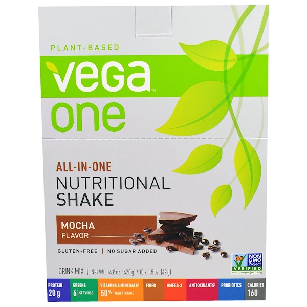 Vega, Vega One Shake, Mocha, 10 Packets, 1.5 oz (42 g) Each (Discontinued Item)