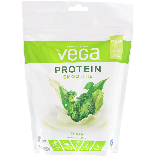 Vega, Protein Smoothie, Plain Unsweetened, 8.9 oz (252 g) (Discontinued Item)