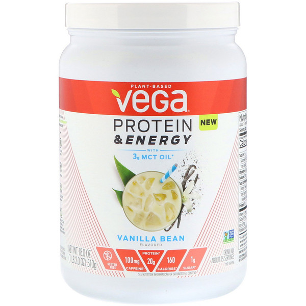 Vega, Protein & Energy, Vanilla Bean, 1.1 lbs (510 g) (Discontinued Item)