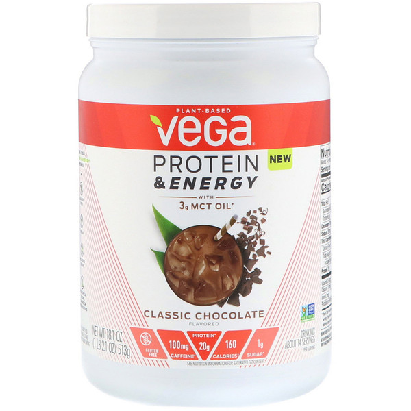 Vega, Protein & Energy with 3g MCT Oil, Classic Chocolate, 18.1 oz (513 g) (Discontinued Item)