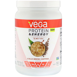 Vega, Protein & Energy with 3g MCT Oil, Cold Brew Coffee, 1.2 lbs (526 g)