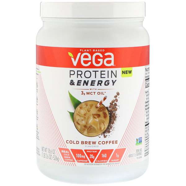 Vega, Protein & Energy, Cold Brew Coffee, 1.2 lbs (526 g)