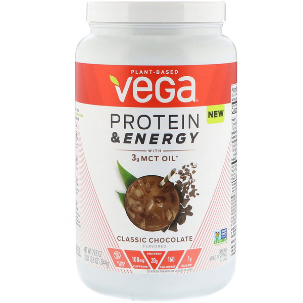 Vega, Protein & Energy, Classic Chocolate, 1.86 lbs (844 g) (Discontinued Item)