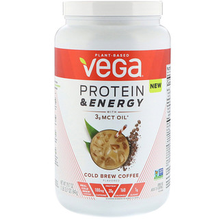 Vega, Protein & Energy with 3g MCT Oil, Cold Brew Coffee, 1.85 lbs (841 g)