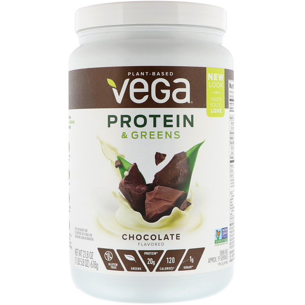 Vega, Белки и зелень, со вкусом шоколада, 21,8 унц. (618 г)