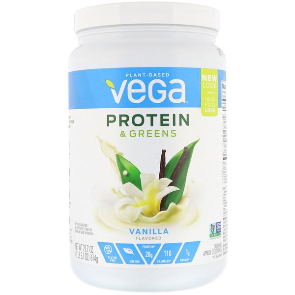 Vega, Белки и зелень, внильный аромат, 21,7 унц. (614 г)