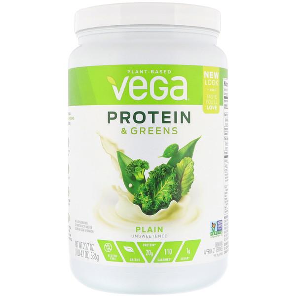 Vega, Белки и зелень, без сахара и ароматизаторов, 20,7 унц. (586 г)