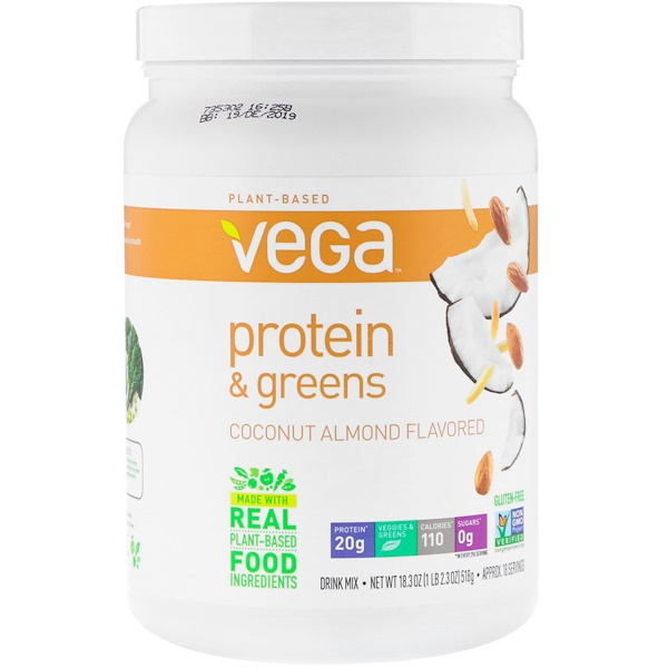 Vega, 蛋白質和綠色蔬菜,椰子杏仁味,18、3盎司(518克)