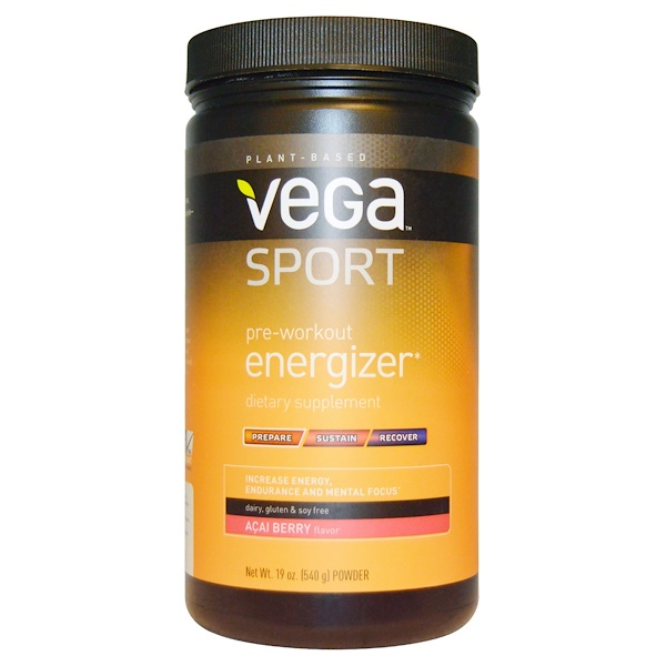 Vega, Спортпит, энергетик перед тренировкой, аромат ягод асаи, 19 унций (540 г) (Discontinued Item)