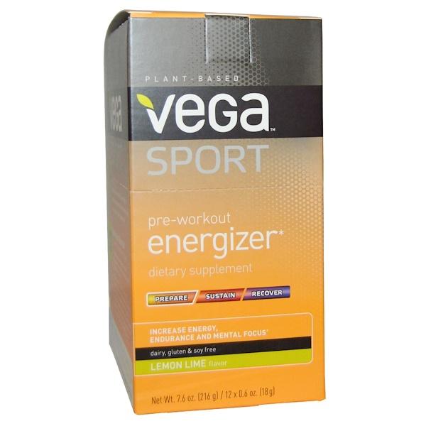 Vega, Sport, Pre-Workout Energizer, Lemon Lime, 12 Packs, 0.6 oz (18 g) Each (Discontinued Item)