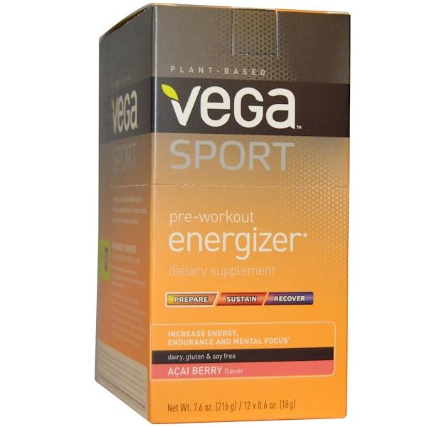Vega, Спортпит, энергетик перед тренировкой, аромат ягод асаи, 12 пакетиков по 0,6 унции (18 г)  (Discontinued Item)