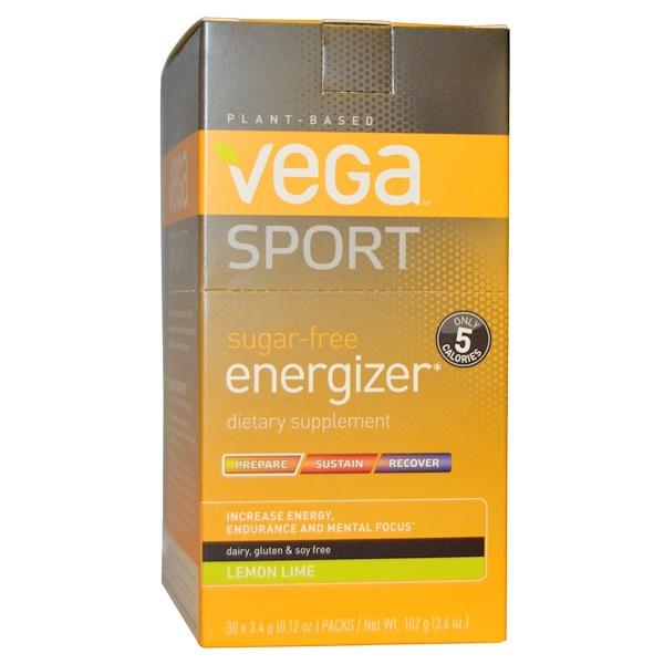 Vega, Sport, Sugar-Free Energizer, Lemon Lime, 30 Packs, 0.12 oz (3.4 g) Each (Discontinued Item)