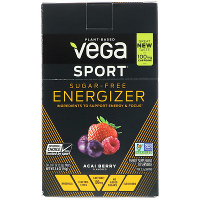 Vega Sport, Sugar-Free Energizer, Acai Berry, 30 Packs, 0.11 oz (3.2 g) Each