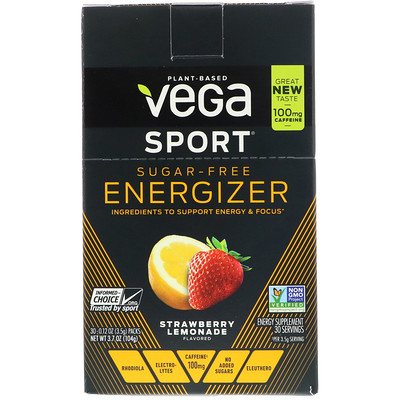 Vega Sport, Sugar-Free Energizer, Strawberry Lemonade, 30 Packs, 0.12 oz (3.5 g) Each