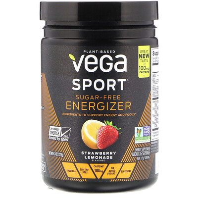 Vega Sport, Sugar-Free Energizer, Strawberry Lemonade, 4.3 oz (122 g)