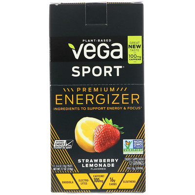 Vega Sport, Premium Energizer, Strawberry Lemonade, 12 Packs, 0.6 oz (18 g) Each