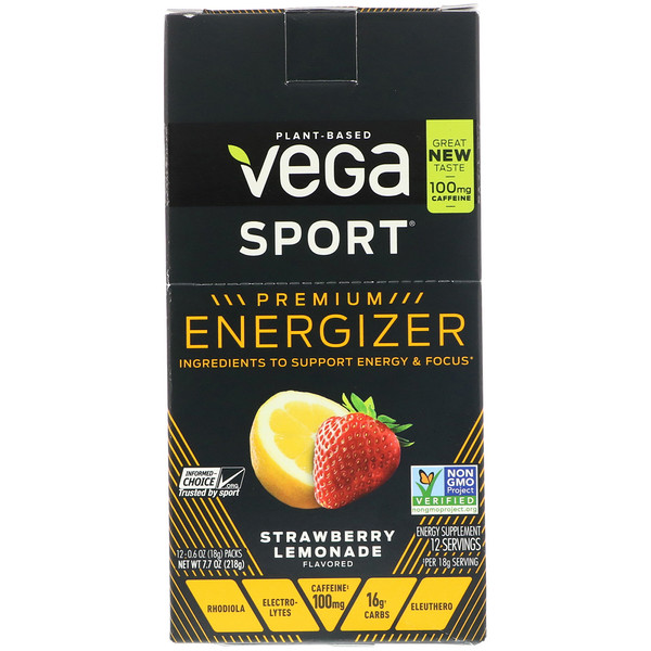 Vega, Energizer, Strawberry Lemonade, 12 Packs, 0.6 oz (18 g) Each, 12 Packs, 0.6 oz (18 g) Each