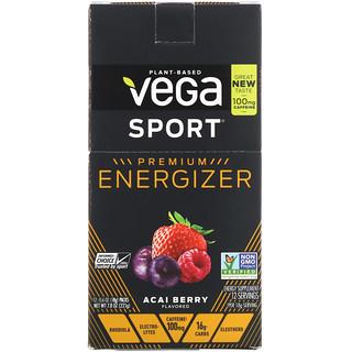 Vega, Sport, премиальный энергетический порошок, ягоды асаи, 12 пакетиков, 0,6 унц. (18 г) каждый