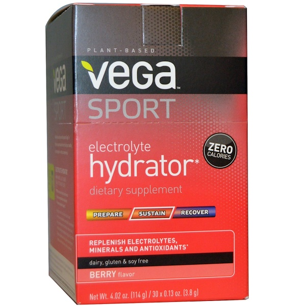 Vega, Sport, Electrolyte Hydrator, Berry, 30 Packs, 0.13 oz (3.8 g) Each (Discontinued Item)