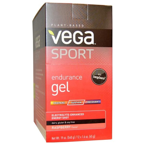Vega, Sport,гель для выносливости с ароматом малины 12 пакетиков, 1.6 унции (45 г) каждый (Discontinued Item)