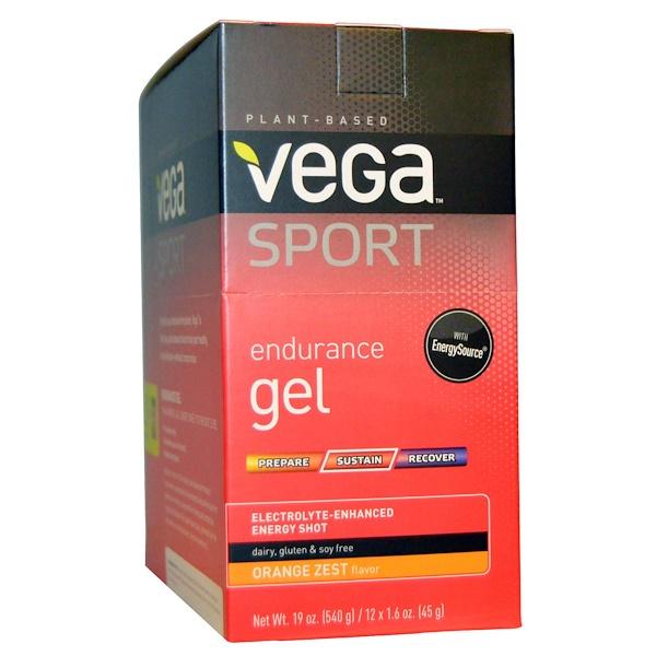 Vega, Спортпит, гель для повышения выносливости, вкус апельсиновой цедры, 12 пакетиков по 1,6 унции (45 г)  (Discontinued Item)