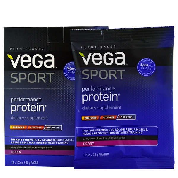 Vega, Sport, Performance Protein, Berry, 12 Packs, 1.2 oz (33 g) Each (Discontinued Item)