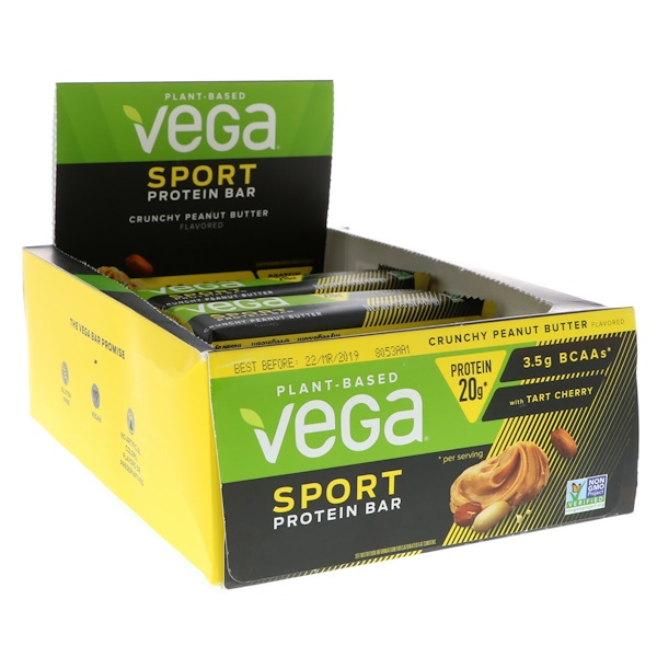 Vega, Sport Protein Bar, Crunchy Peanut Butter, 12 Bars, 2.5 oz (70 g)