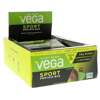 Vega, Sport, Protein Bar, Crispy Mint Chocolate, 12 Bars, 2.5 oz (70 g) Each